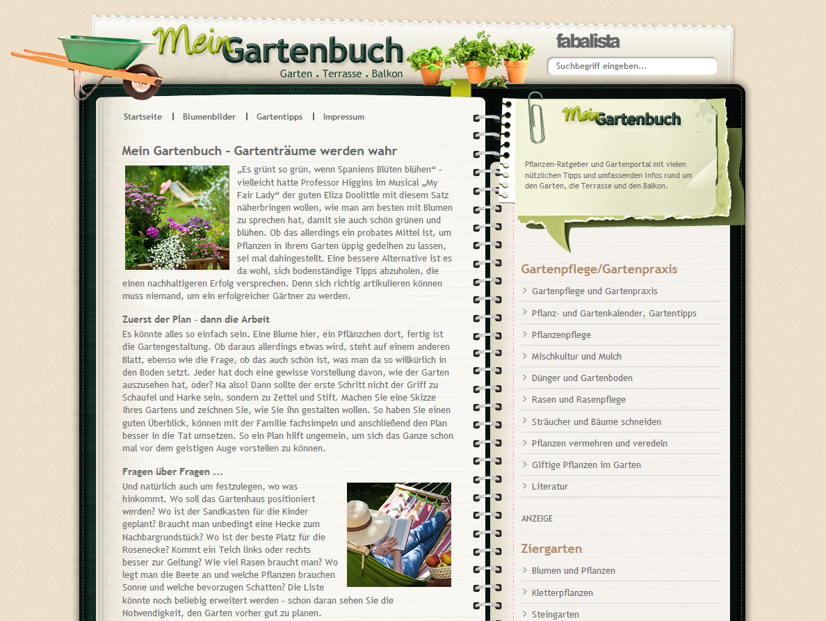 Screen-Gartenbuch